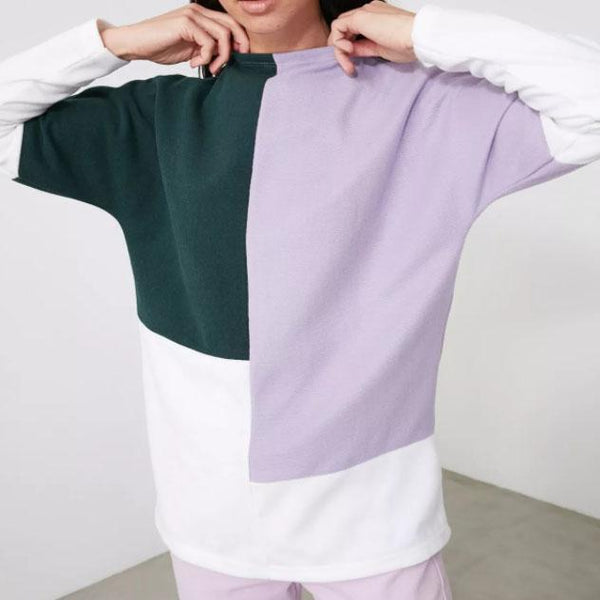 Round neck color block plian long sleeve top
