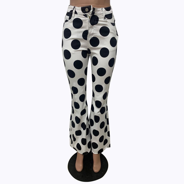 Large black polka dots printed women white bell-bottomed pants