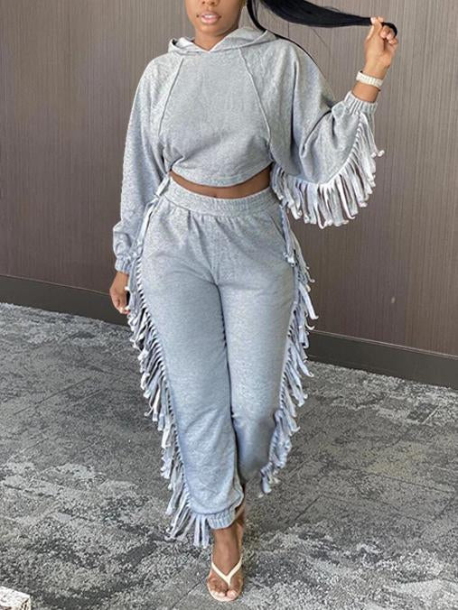 Grey casual women loose top&pants set with tassels