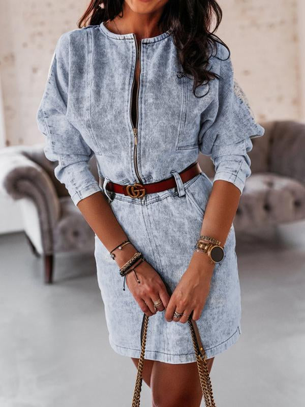Round neck belted zipper denim dress
