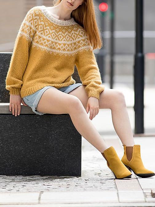 Yellow round neck knit sweater