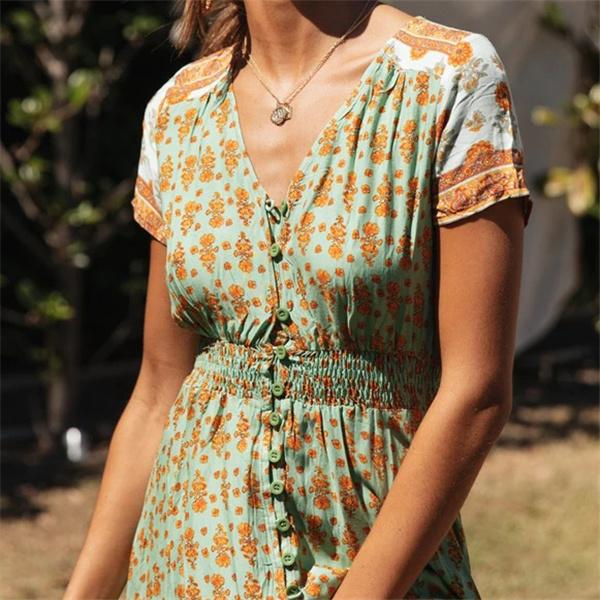 V neck button women floral summer dress
