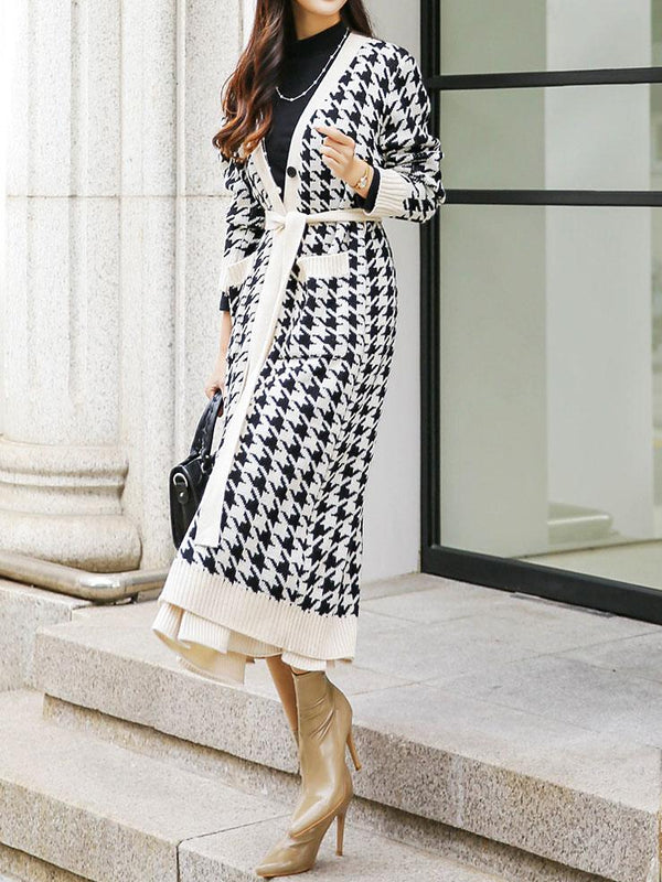 Printed soft knit long coat