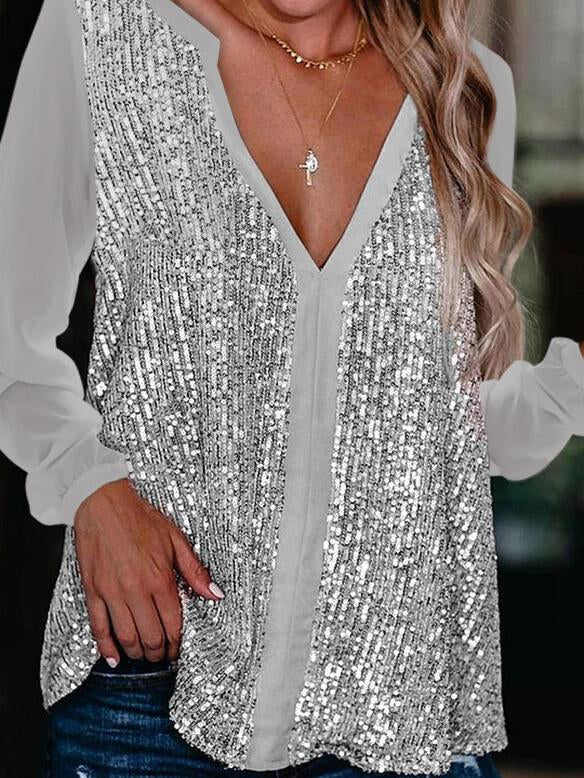 Deep v neck sexy women sequin top