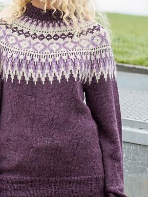 Purple round neck soft sweater
