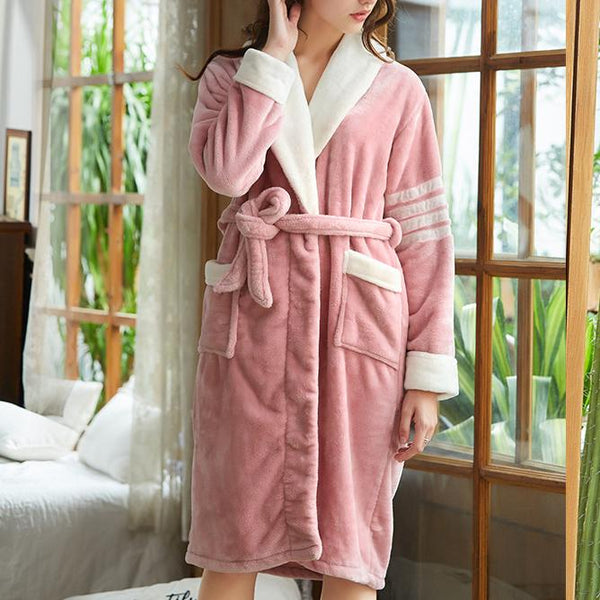 Pink thicken plain pajamas