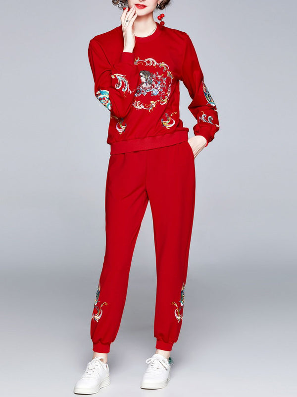 Embroidery round-neck line fashion sport suit
