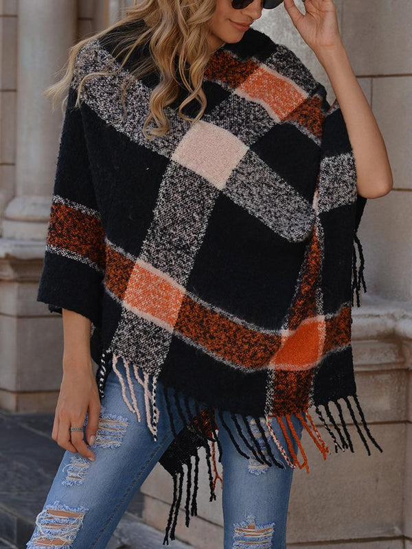 V-neck irregular tassel sleeveless sweater  Cape loose Pullover