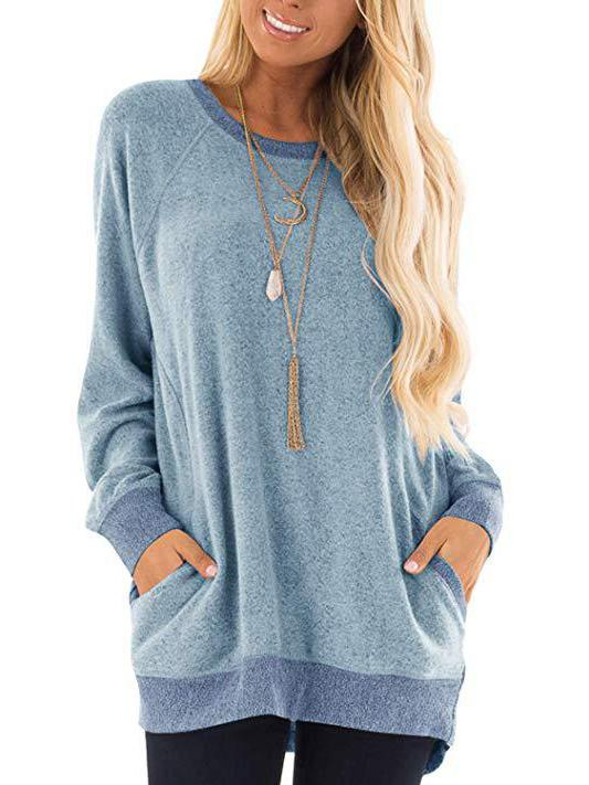 Round neck plain loose long sleeve shirt with packets