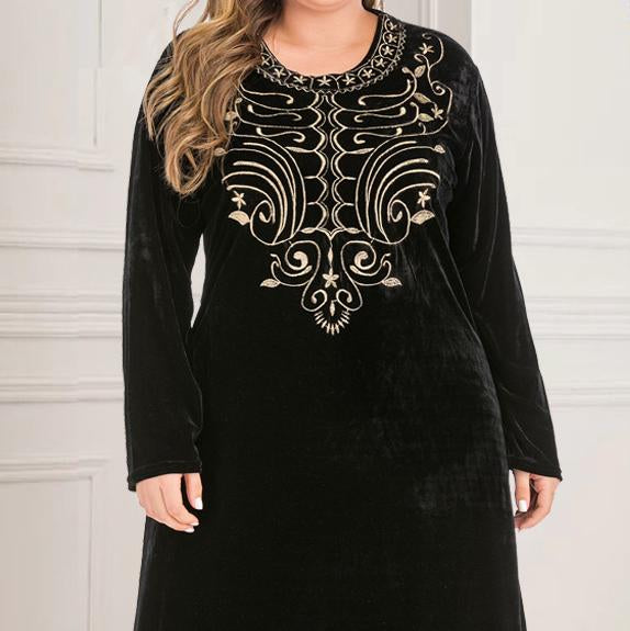Long sleeve round neck embroidery flannelette dress