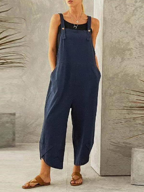 Casual loose pure color women ninth suspender trousers