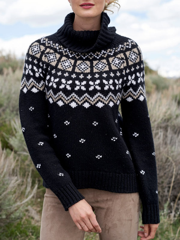 Black high  neck printed sweater
