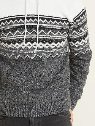Men color block knit sweater with hat