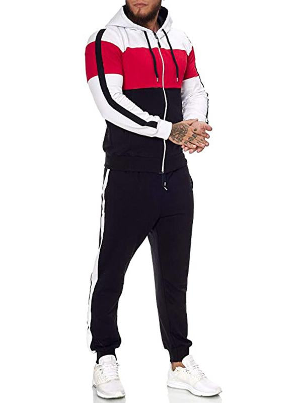 Men autumn drawstring sport suit