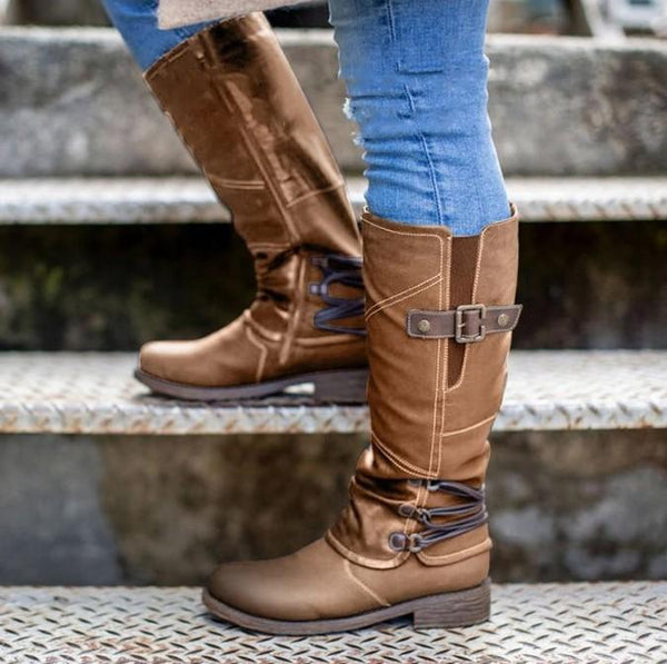 Women low-heel zipper boot