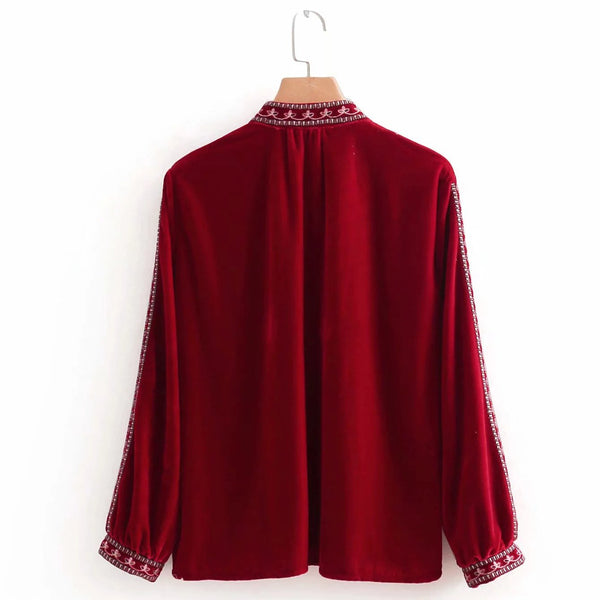 Red women velvet embroidery comfortable top