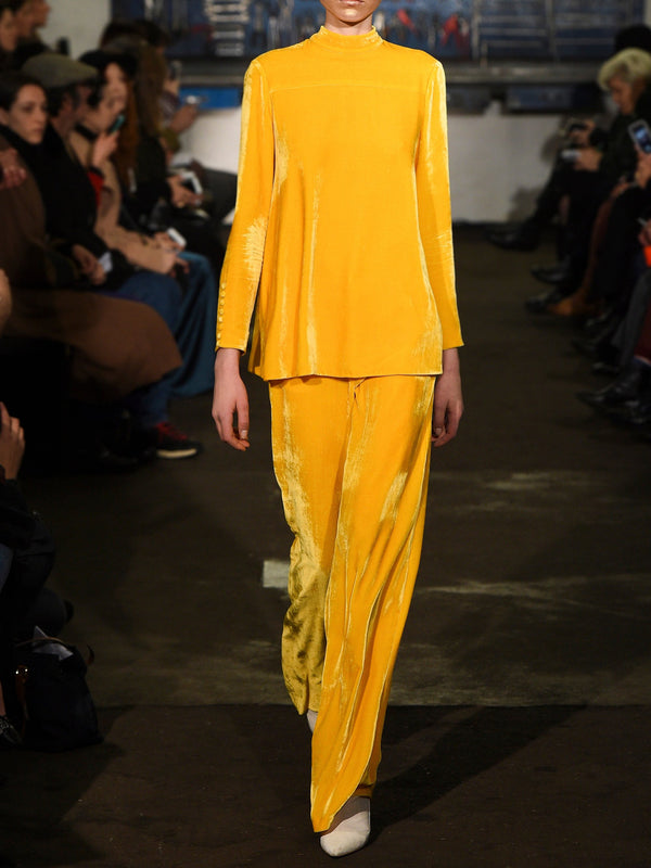 Yellow round neck plain top and pants suit