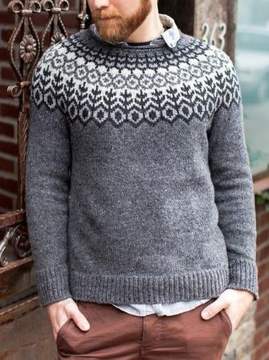Men gray round neck knit sweater