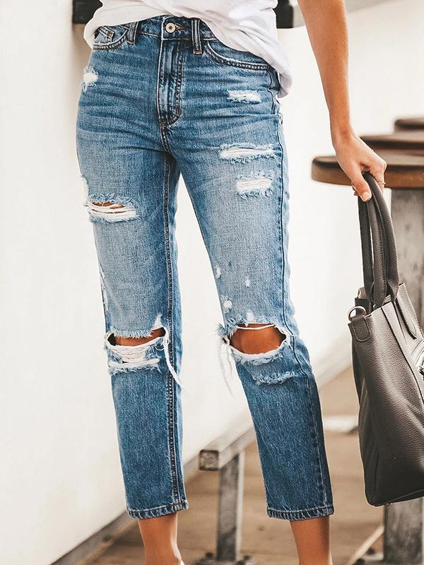 Blue slim hole denim pants jeans