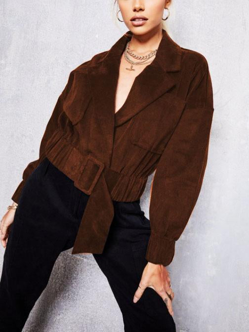 Suede plain loose belted  coat