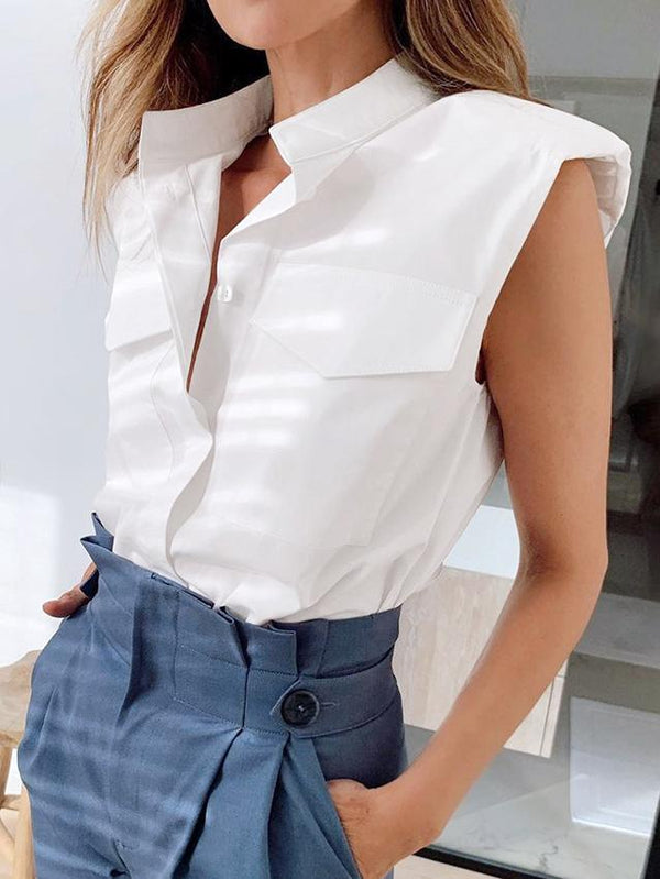 Shoulder pad women simple white sleeveless top