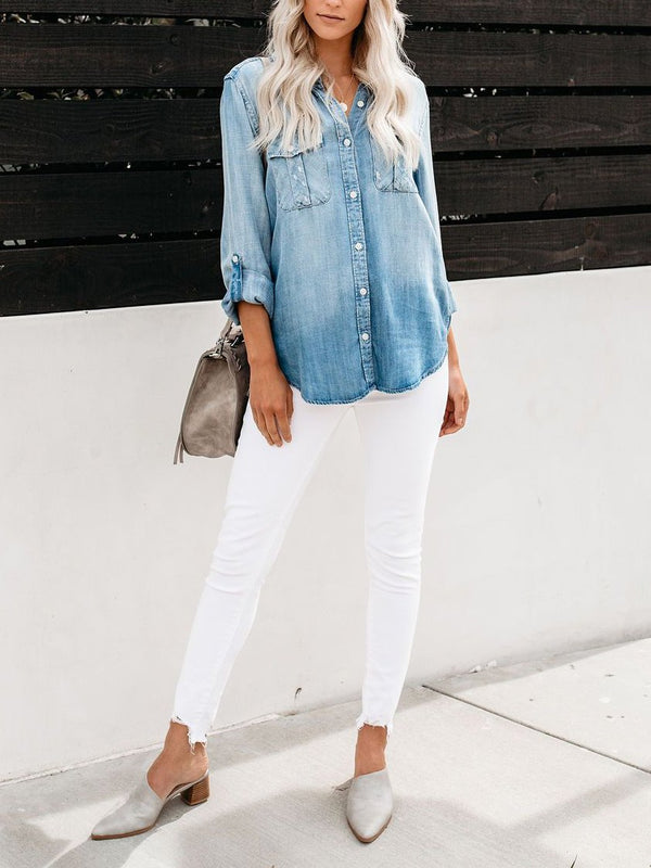 Lapel plain long sleeve denim shirt