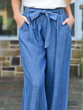 Fashion loose plain belted denim pants