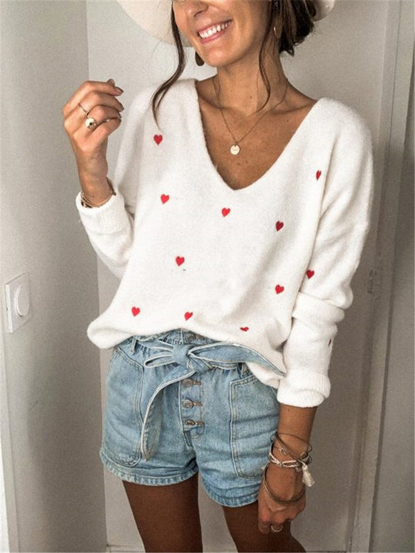 V neck women red heart-shaped pattern sweater