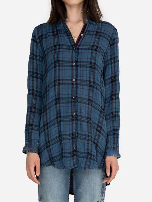Women plaid embroidery shirt