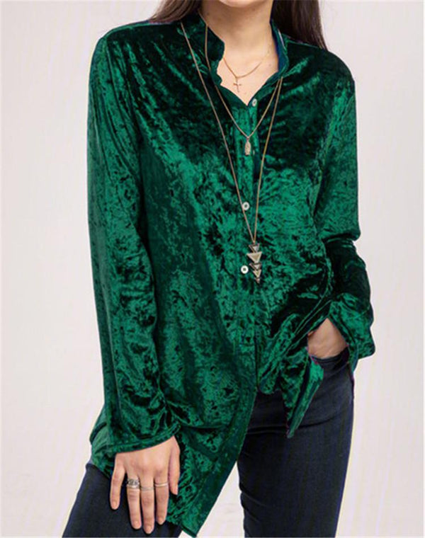 Round neck plain button decorated long sleeve velvet top
