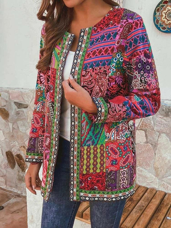 2020 round neck colorful  printed coat