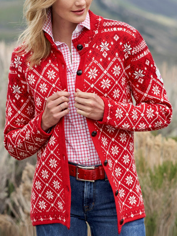 Red round neck printed button sweater coat