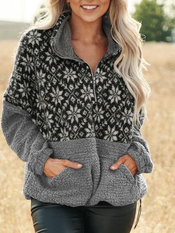 Fashion printed lapel zipper fleece coat