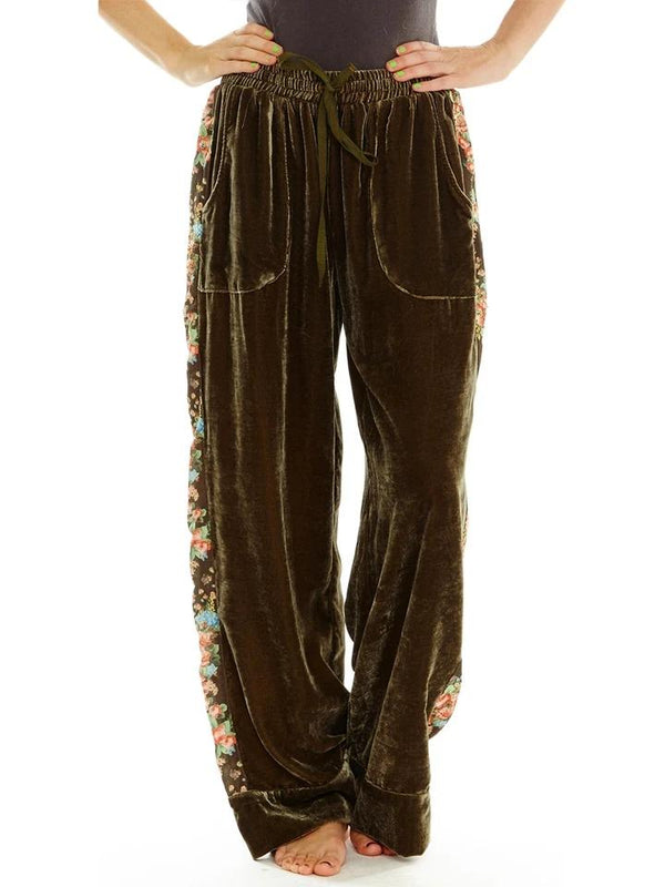 Green loose printed elastic waist pants