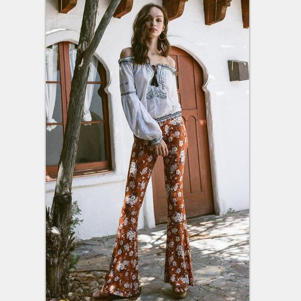 Vintage printed flared pants