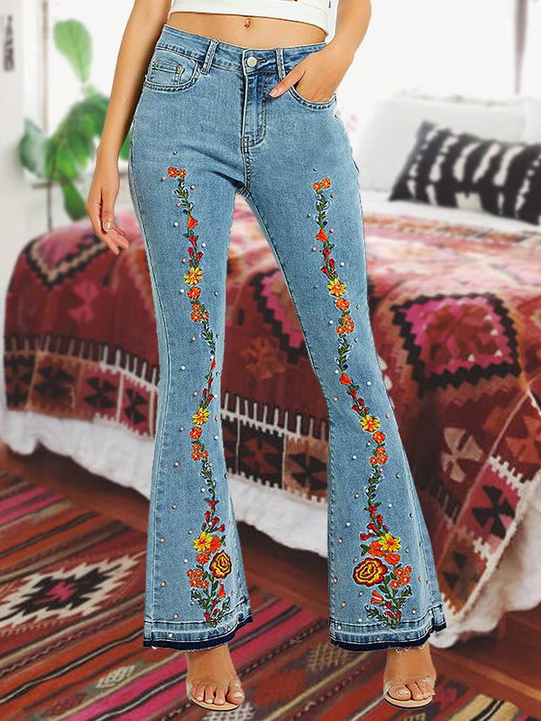 Fashion floral embroidery flared pants jeans