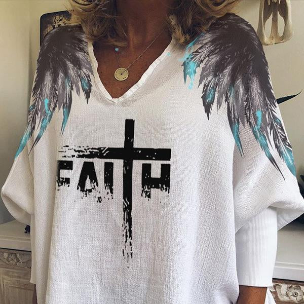 V neck loose shoulder wings printed white t-shirt