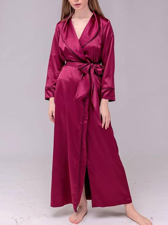 Pure color satin women v-neck nightdress