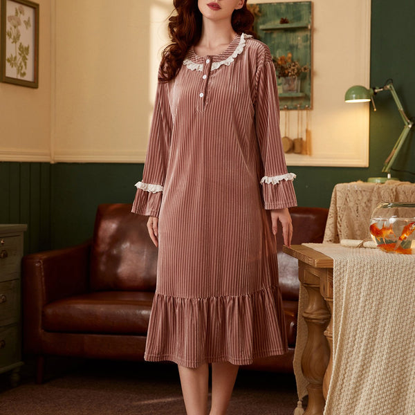 Round neck lace split joint pajamas dress