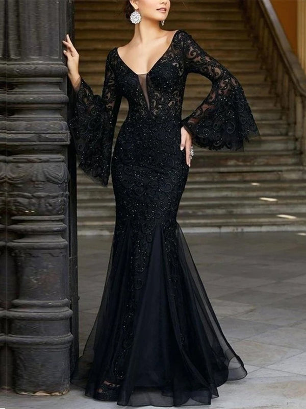 Sexy black slim banquet mermaid dress