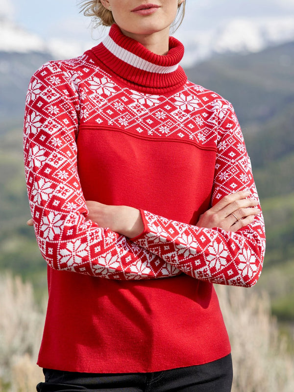 Red high neck color block sweater