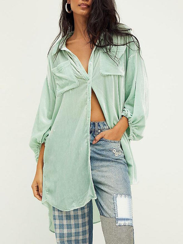 Women oversized pure color shirt