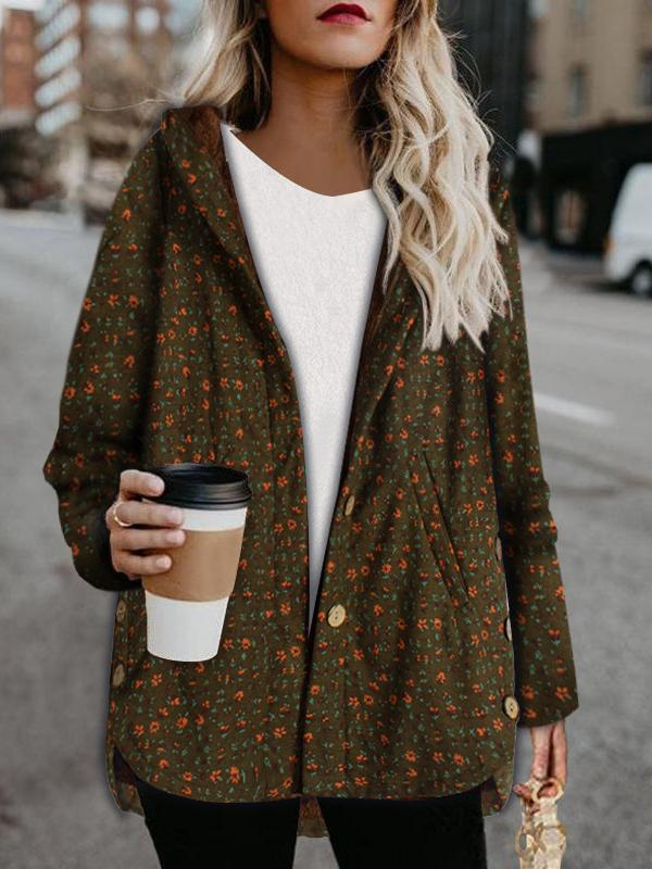 Floral printed keep warm coat