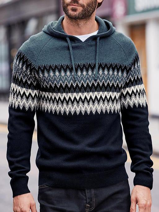Men keep warm knit sweater with hat