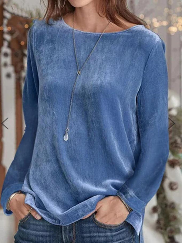 Simple round neck plain  long sleeve velvet top