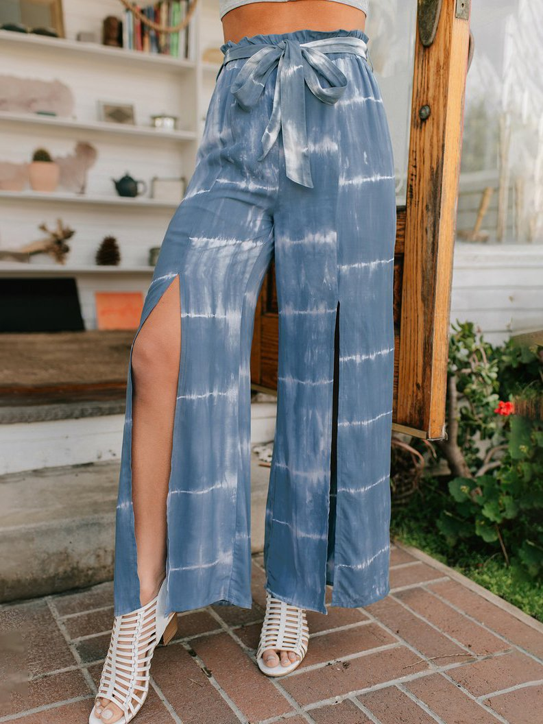 Daily soft printed loose slit pants