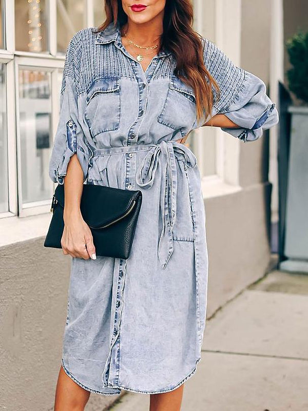 Chic pleated plain belted long slleve denim dress