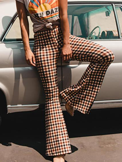 Vintage slim check printed flared pants