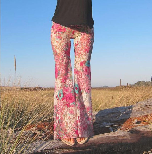Pink FLORAL  printed flared pants