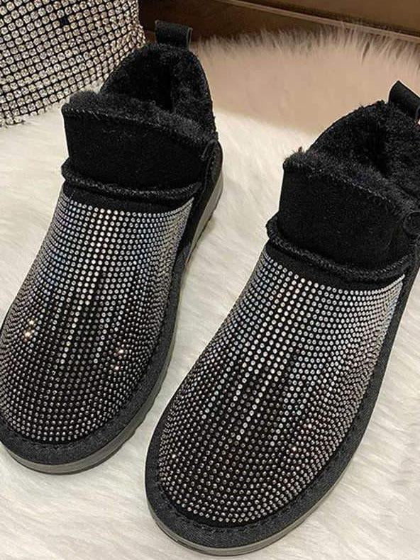 Women antislip warm boots with rhinestone